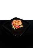 Sandwich isolato su fondo in bianco e nero fotografie stock libere da diritti