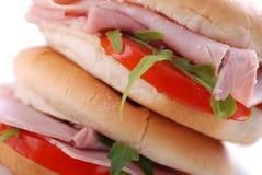 Sandwich con il prosciutto ed il pomodoro Fotografia Stock Libera da Diritti
