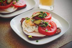 Sandwich con l'uovo Fotografie Stock