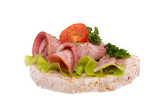 Sandwich con la salsiccia ed i verdi Immagine Stock