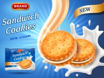 Sandwich cookies ads. Delicious vanilla cream flow. Cracker drop in milk splash. Package design template. Blue. Background with glowing effect. Food and sweets Vector Illustration