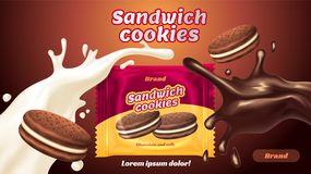 Sandwich cookies ads, milk chocolate flavor with tasty liquid twisted in the air and package Stock Photos