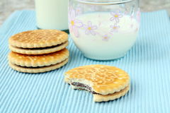 Sandwich cookies with chocolate Royalty Free Stock Photos