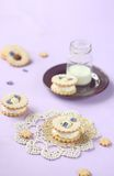 Sandwich Cookies with Cream Cheese and Violet Filling Stock Photos