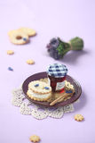 Sandwich Cookies with Cream Cheese and Violet Filling Royalty Free Stock Image