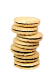 Sandwich cookies filled with chocolate cream isolated on white background. Royalty Free Stock Photo