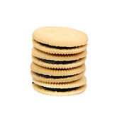 Sandwich cookies filled with chocolate cream isolated on white background. Royalty Free Stock Photography
