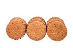 Sandwich cookies isolated. On white background Royalty Free Stock Photo