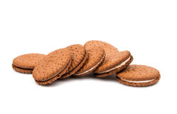 Sandwich cookies isolated. On white background Royalty Free Stock Photos