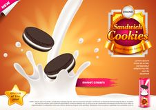 Sandwich cookies in pouring milk ads vector background Stock Images