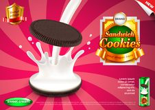 Sandwich cookies and pouring milk ads vector background Stock Images