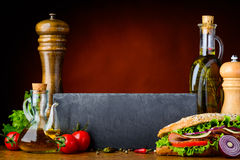 Sandwich with Cooking Ingredients and Copy Space Stock Photo