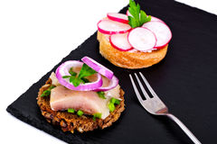 Sandwich of Corn Bread, Herring and Radish Stock Image
