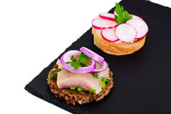 Sandwich of Corn Bread, Herring and Radish Stock Images