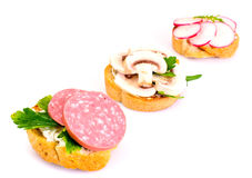 Sandwich of Corn Bread and Mushrooms Stock Photos