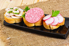 Sandwich of Corn Bread and Mushrooms Stock Photo