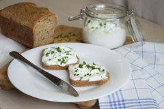Sandwich with cottage cheese. And chives Royalty Free Stock Photo