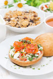 Sandwich with cottage cheese, herbs, tomato and salmon Royalty Free Stock Images
