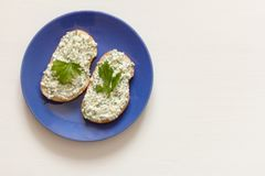 Sandwich with cottage cheese and herbs on white wooden background stock photos