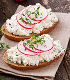 Sandwich with cottage cheese and radish Stock Photos