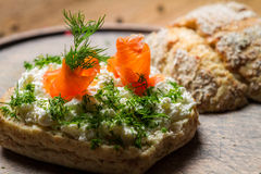 Sandwich with cottage cheese, salmon and dill Royalty Free Stock Photography