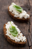 Sandwich with cottage cheese and spinach Royalty Free Stock Photos