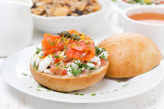 Sandwich with cottage cheese, tomato and salmon for breakfast Royalty Free Stock Photos