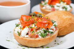 Sandwich with cottage cheese, tomato, salmon Royalty Free Stock Photos