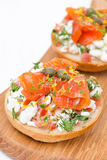Sandwich with cottage cheese, tomato and salmon on wooden board Royalty Free Stock Photo