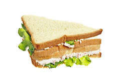Sandwich with crab meat. Here's two sandwiches with crab meat and lettuce leaf, isolated on white Royalty Free Stock Photos