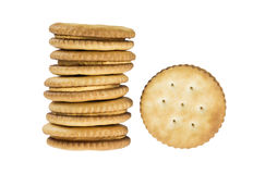 Sandwich crackers on white background Stock Photo