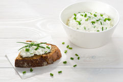 Sandwich with cream cheese Stock Photos