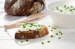 Sandwich with cream cheese Stock Images