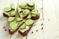 Sandwich with cream cheese, cucumber, cilantro Royalty Free Stock Image