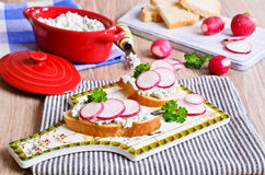 Sandwich with cream cheese and radish Royalty Free Stock Photography
