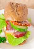 Sandwich with smoked bacon Stock Photo