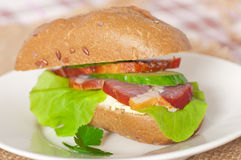 Sandwich with smoked bacon Royalty Free Stock Images