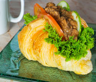 Sandwich, croissant sandwich, fast food, breakfast or lunch. Royalty Free Stock Photography