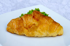 Sandwich croissant with vegetable. Royalty Free Stock Image