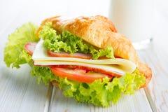 Sandwich croissant Stock Photography