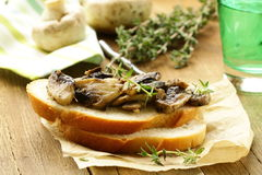 Sandwich crostini  with fried mushrooms Royalty Free Stock Image
