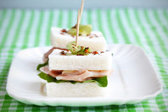 Sandwich with crustless bread and mortadella Stock Photography