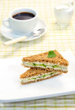 Sandwich with a cucumber. The served table for a breakfast, the basic dish a sandwich with a cucumber stock photo