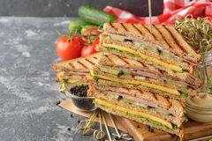 Sandwich with cucumber, cheese and ham Stock Photo