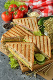 Sandwich with cucumber, cheese and ham Stock Images