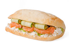 Sandwich with cucumber and salmon Royalty Free Stock Image