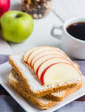 Sandwich with curd cheese, apple, honey and dried fruits, coffee Royalty Free Stock Photo