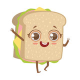 Sandwich Cute Anime Humanized Cartoon Food Character Emoji Vector Illustration Royalty Free Stock Photos