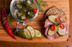 Sandwich on cutting board Stock Photography