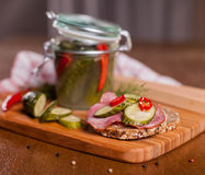 Sandwich on cutting board Royalty Free Stock Images